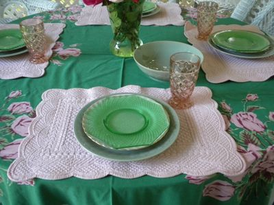 Green pink depression glass
