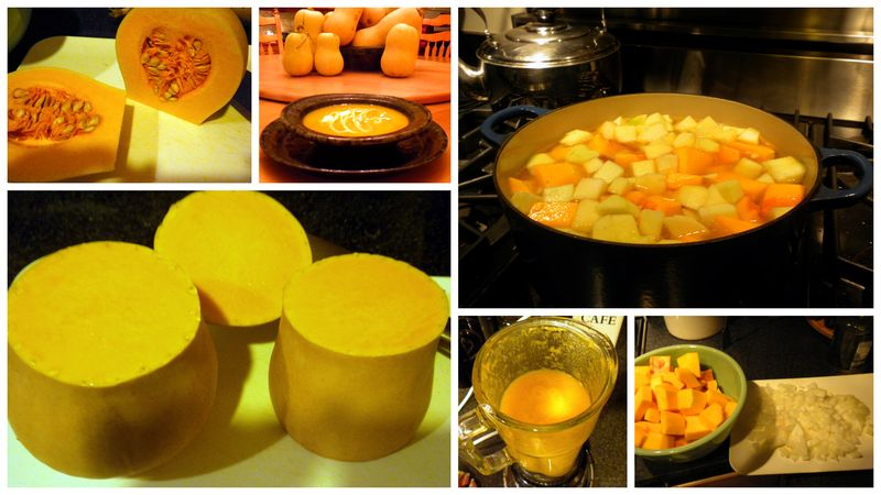 Collage of butternut squash