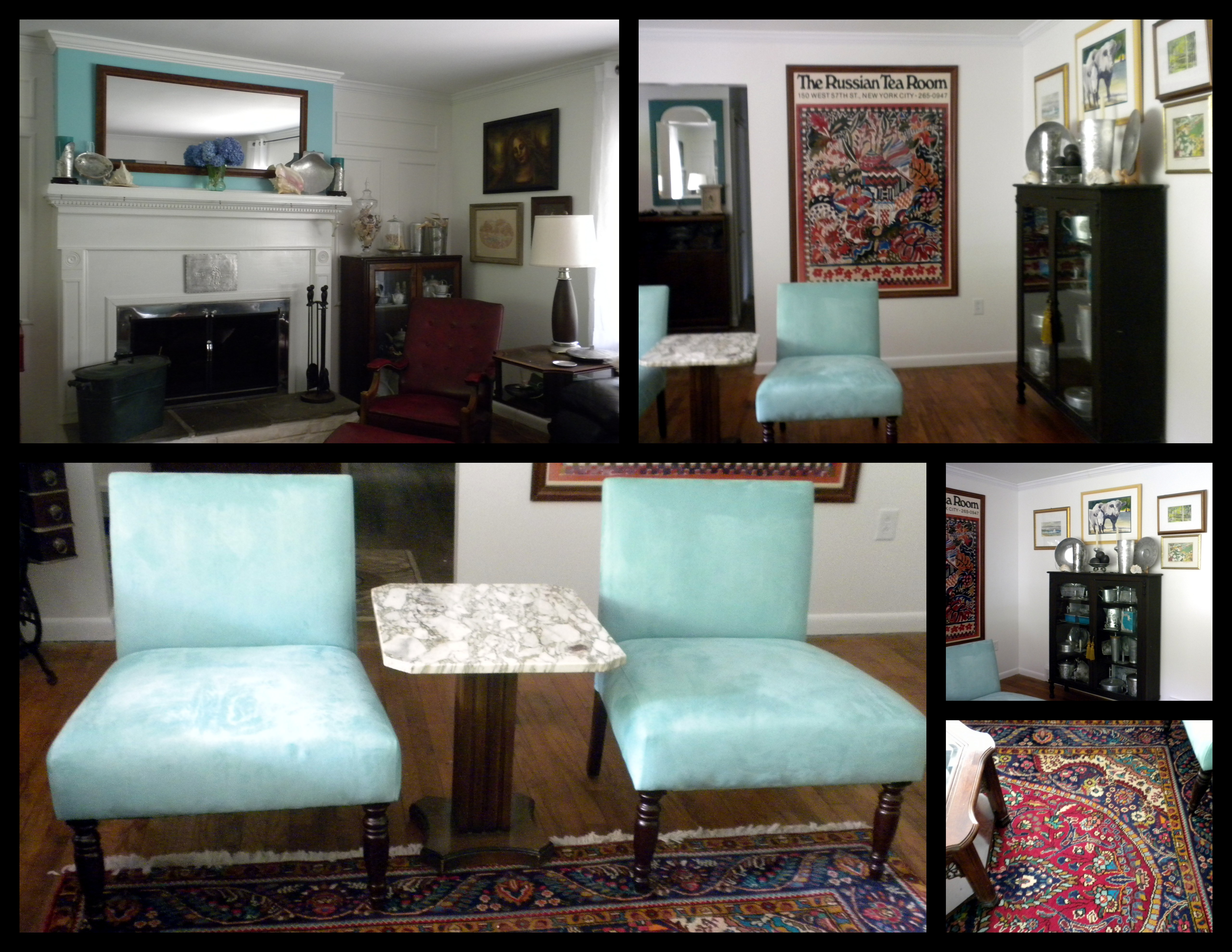 The shades of greens and blues were inspired by the persian carpet in the living room as well as the mid century la mirada pottery used by wendell august